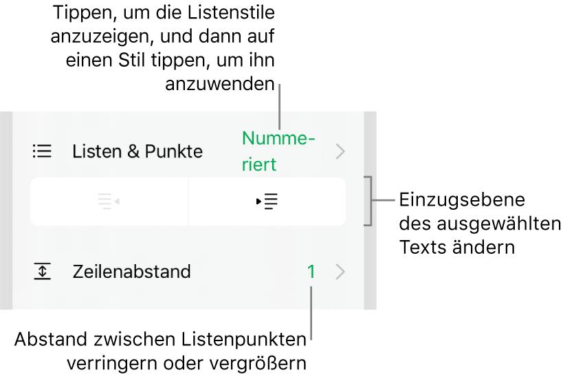 """Der Abschnitt """"Listen& Punkte"""" der Formatierungssteuerungen mit den Beschreibungen für """"Listen& Punkte"""", den Tasten """"Ausrücken"""" und """"Einrücken"""" und den Steuerelementen für den Zeilenabstand."""