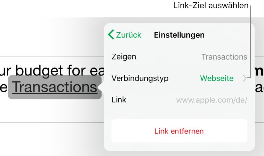 """Die Steuerelemente """"Linkeinstellungen"""" mit den Feldern für """"Anzeigen"""", """"Ziel"""" (auf """"Webseite"""" eingestellt) und """"Link"""". Unten befindet sich die Taste """"Link entfernen""""."""