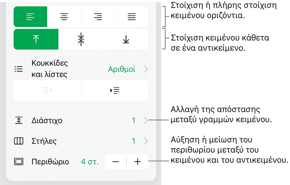 Η ενότητα «Διάταξη» του Επιθεωρητή μορφοποίησης με επεξηγήσεις στα κουμπιά στοίχισης και απόστασης κειμένου.