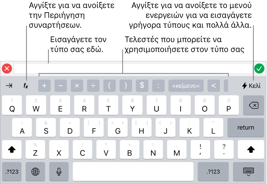 Το πληκτρολόγιο τύπων, με τον επεξεργαστή τύπων στο πάνω μέρος και τους τελεστές που χρησιμοποιούνται σε τύπους από κάτω. Το κουμπί «Συναρτήσεις» για το άνοιγμα της Περιήγησης συναρτήσεων στα αριστερά των τελεστών και το κουμπί μενού «Ενέργεια» στα δεξιά.