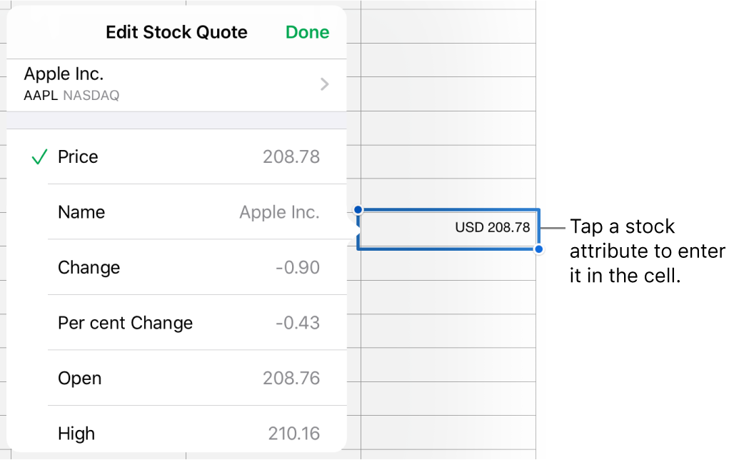 The stock quote popover, with the stock name at the top and selectable stock attributes including price, name, change, per cent change, open and high listed below.