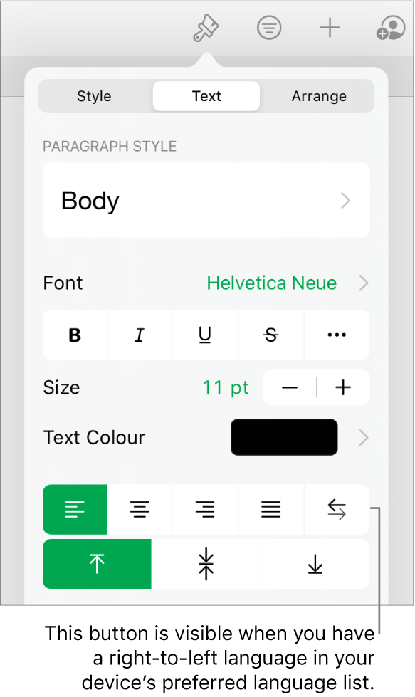 The Style section of the Format menu with a call-out to the Right to Left button.