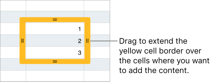 A selected cell with a large yellow border you can drag to auto fill cells.