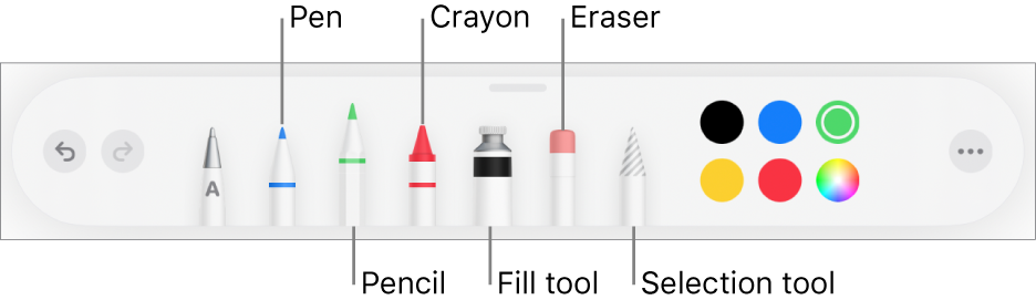 The drawing toolbar with a pen, pencil, crayon, fill tool, eraser, selection tool and colours. On the far right is the More menu button