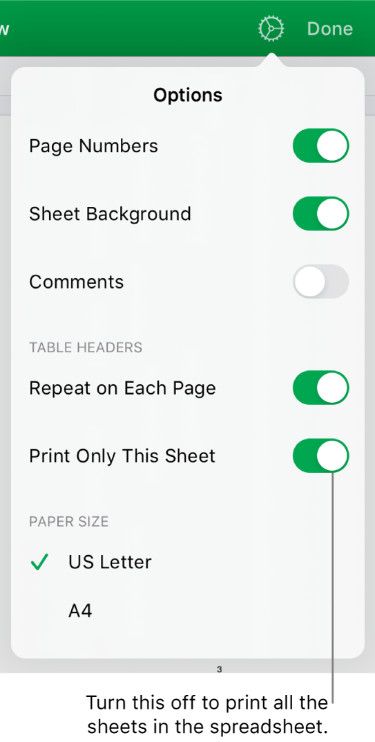 The print preview pane, with controls for showing page numbers, repeating headers on each page, changing the paper size and choosing to print the entire spreadsheet or only the current sheet.