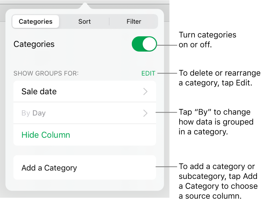 The Categories menu for iPad with options for turning categories off, deleting categories, regrouping data, hiding a source column, and adding categories.