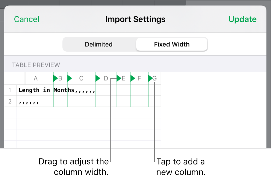 The import settings for a fixed-width text file.