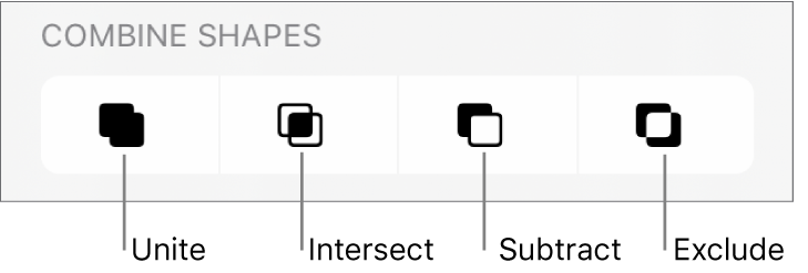 Unite, Intersect, Subtract and Exclude buttons below Combine Shapes.