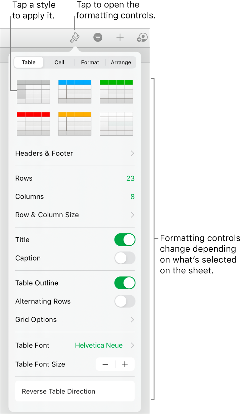 The Table pane of the Format button.