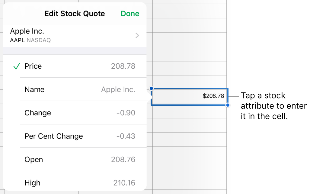 The stock quote pop-over, with the stock name at the top, and selectable stock attributes including price, name, change, per cent change, open and high listed below.