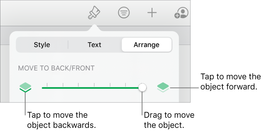The Move Backward button, the Move Forward button and the layering slider.