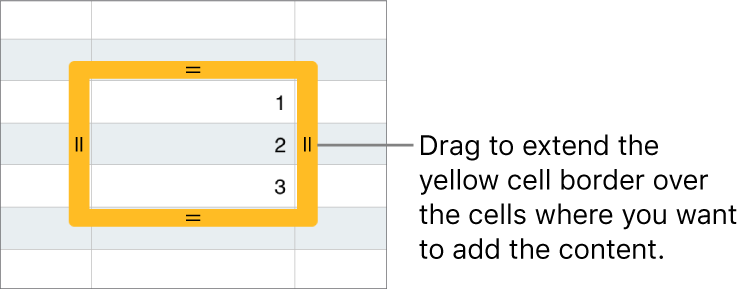 A selected cell with a large yellow border you can drag to autofill cells.