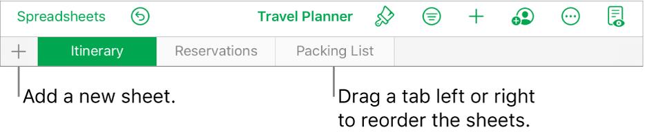 The tab bar for adding a new sheet, navigating, reordering and reorganising sheets.