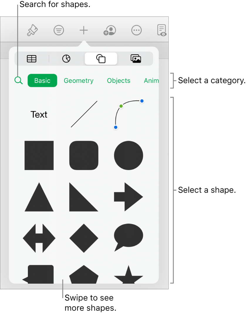 The shapes library, with categories at the top and shapes displayed below. You can use the search field at the top to find shapes and swipe to see more.