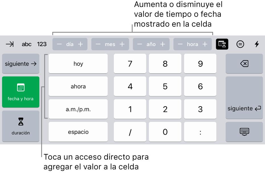 El teclado de fecha y hora. Los botones situados en la parte superior muestran unidades de tiempo (mes, día, año y hora) que puedes incrementar para cambiar el valor mostrado en la celda. Hay teclas en la izquierda para cambiar entre el teclado de fecha y hora y el de duración, y teclas numéricas en el centro del teclado.