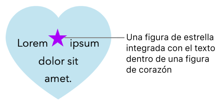 Una figura de estrella aparece integrada con texto dentro de una figura de corazón.