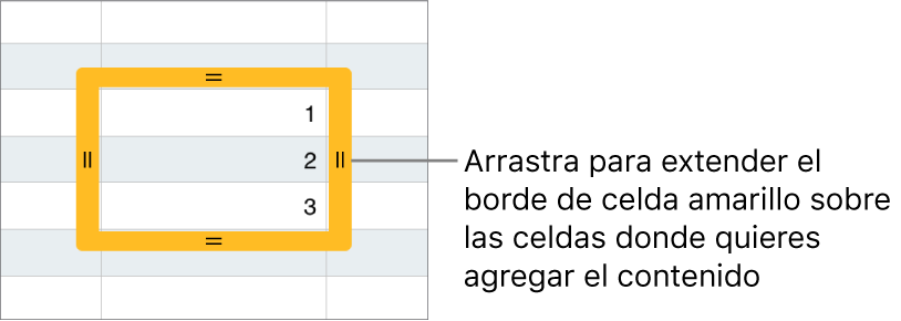 Una celda seleccionada con un borde amarillo grande que puedes arrastrar para que las celdas se autorrellenen.