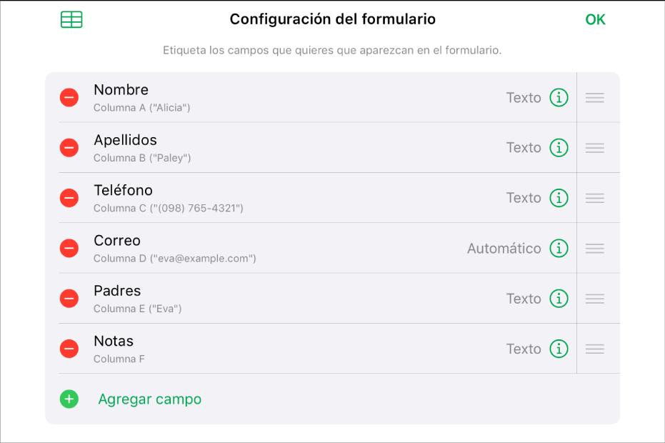 El modo de configuración de formulario mostrando las opciones para agregar, editar, reordenar, eliminar campos y cambia rel formato de los campos (por ejemplo, de texto a porcentaje).