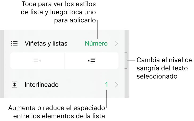 """La sección """"Viñetas y listas"""" de los controles de formato con texto que señala la sección """"Viñetas y listas"""", los botones de las sangría derecha o izquierda y controles de interlineado."""