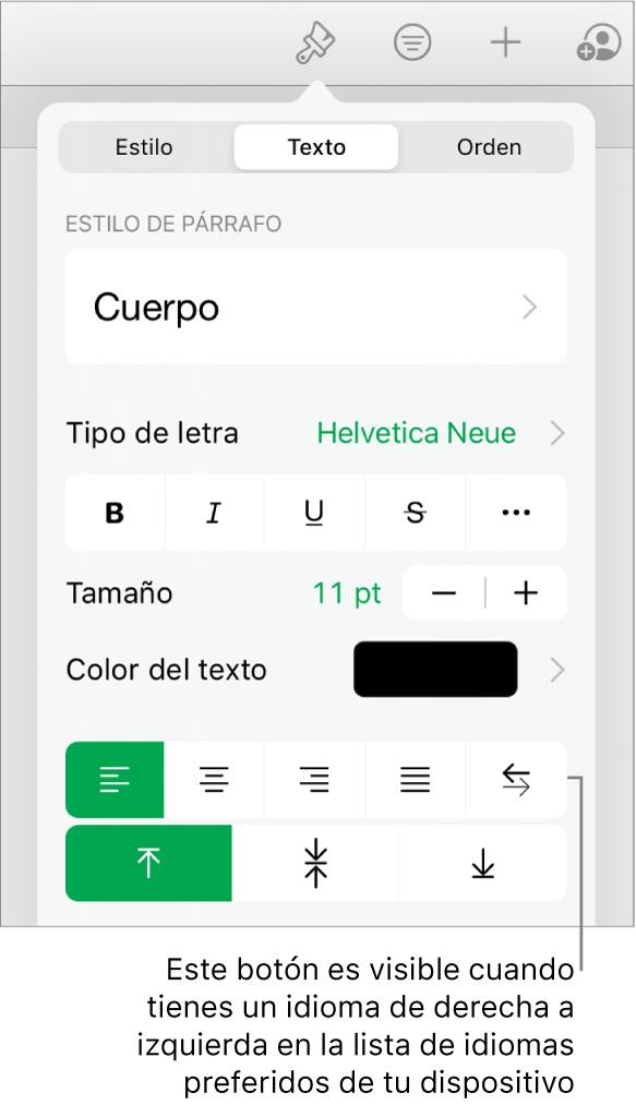 """La sección Estilo del menú Formato con un mensaje en el botón """"De derecha a izquierda""""."""