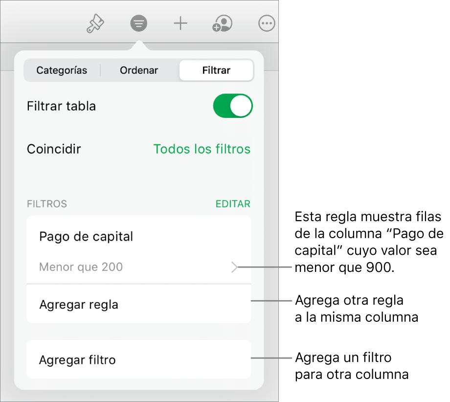 Controles para agregar nuevas reglas de filtrado o para editar las existentes.
