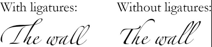 Ejemplos de texto con y sin ligaduras.