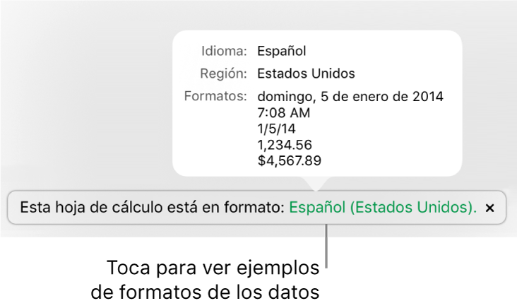 La notificación de la configuración de idioma y formato distinto, con ejemplos del formato en ese idioma y región.