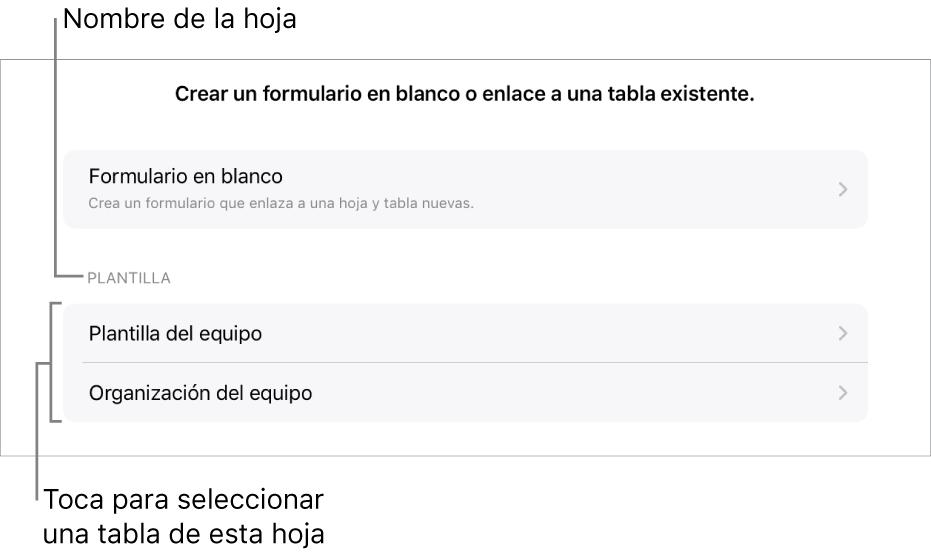 Una lista de tablas que están en la misma hoja de cálculo, con la opción de crear un formulario en blanco en la parte superior.