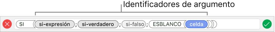 El editor de fórmulas con una función e identificadores de argumentos.