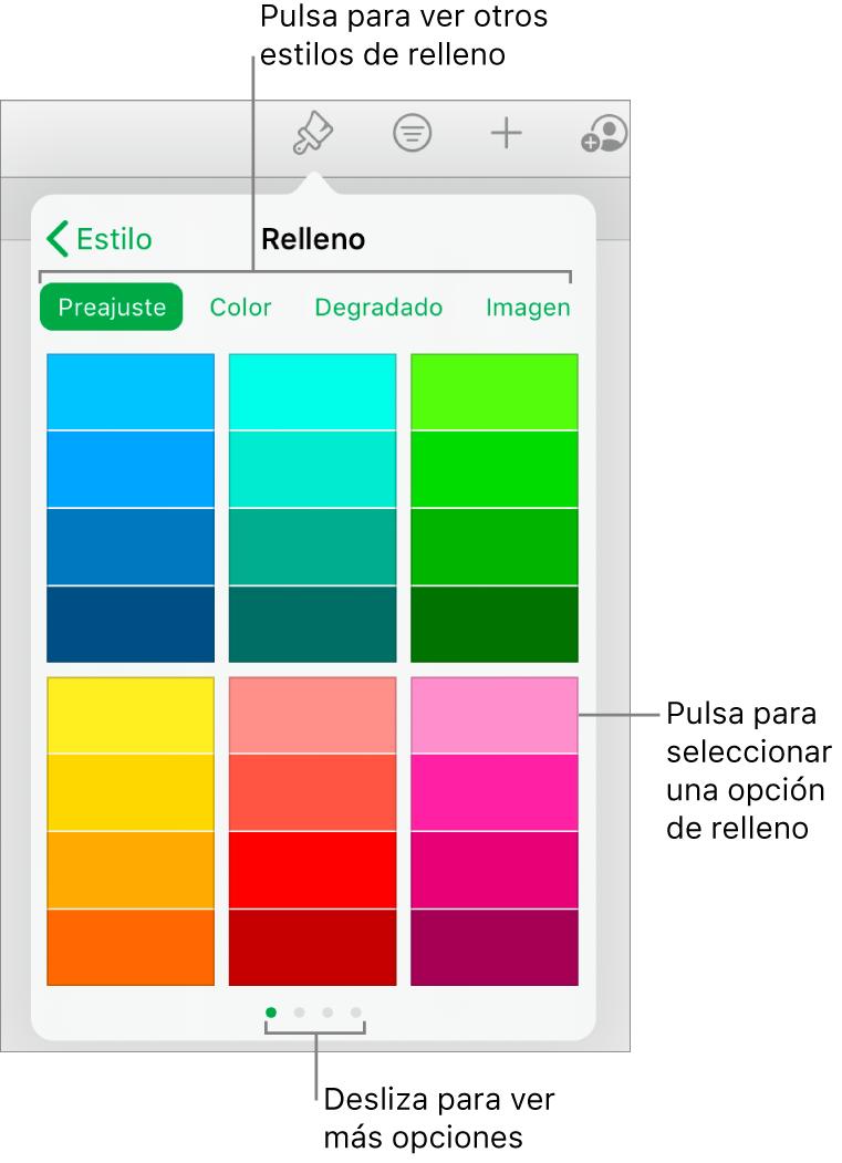 Opciones de relleno en la pestaña Estilo del botón Formato.
