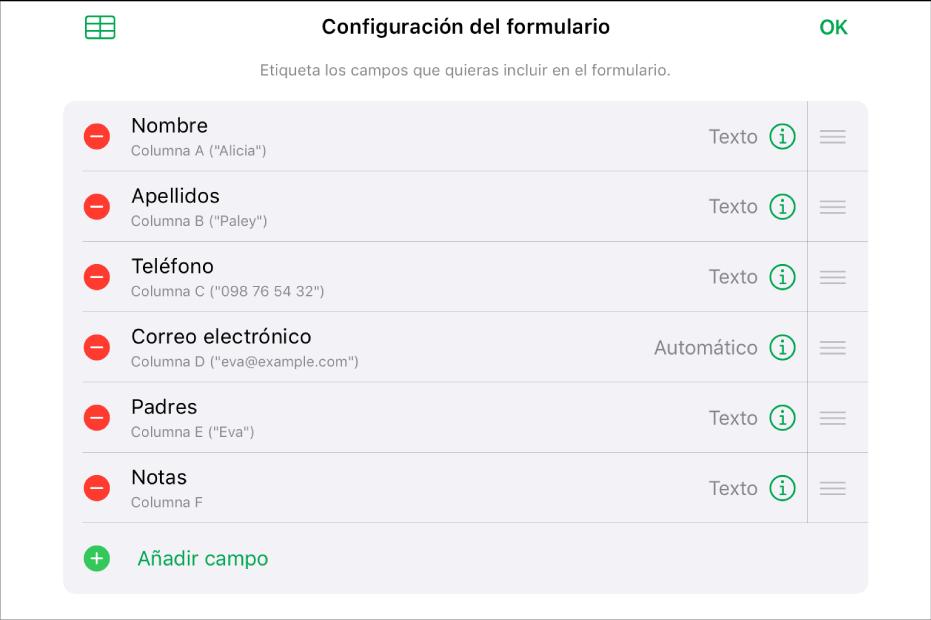 Modo de configuración de formulario, con opciones para añadir, editar, reordenar y eliminar campos, así como para cambiar el formato de los campos (como de Texto a Porcentaje).