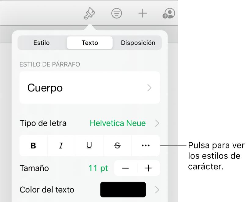 """Los controles de Formato con los estilos de párrafo en la parte superior y, después, los controles de """"Tipo de letra"""". Debajo de """"Tipo de letra"""" están los botones Negrita, Cursiva, Tachado y """"Más opciones de texto"""""""