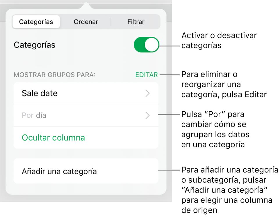 El menú Categorías para iPad con opciones para desactivar categorías, eliminar categorías, reagrupar datos, ocultar una columna de origen y añadir categorías.