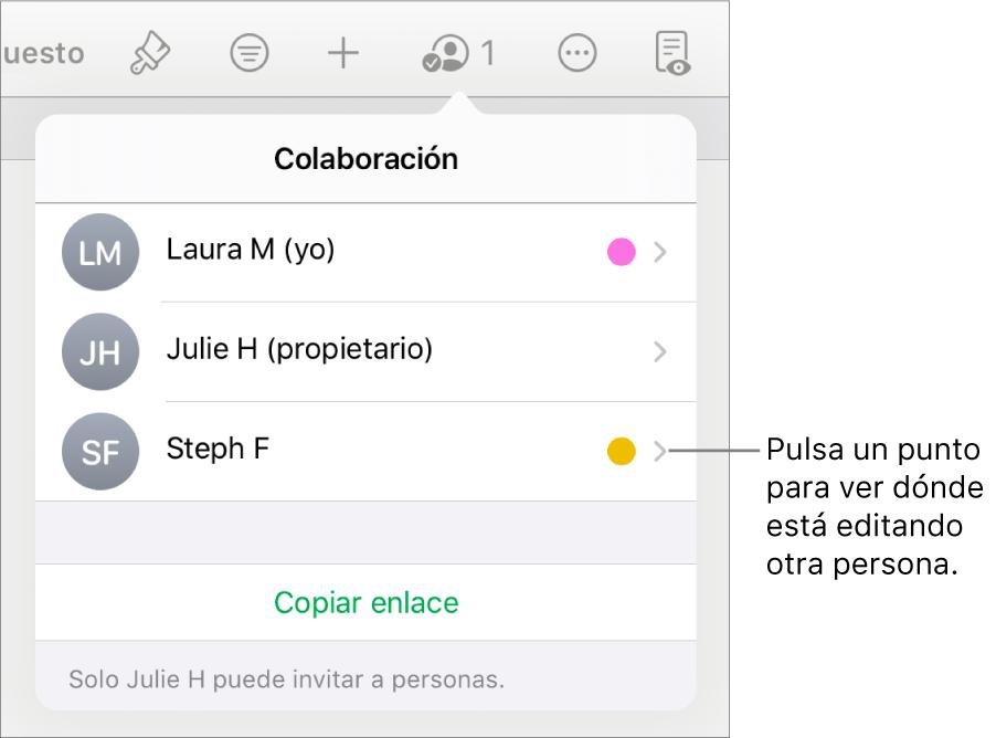 La lista de participantes con tres participantes y un punto de un color distinto a la derecha de cada nombre.