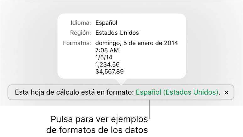 La notificación del ajuste de idioma y formato distinto, con ejemplos del formato en ese idioma y región.