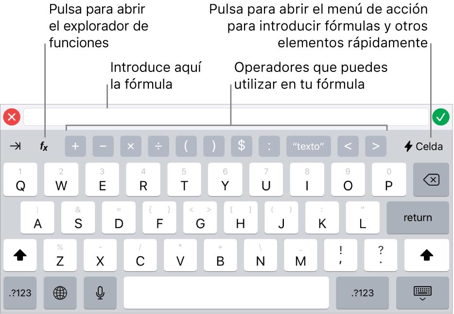 El teclado de fórmulas, con el editor de fórmulas en la parte superior y los operadores que se utilizan en las fórmulas debajo. El botón Funciones para abrir el explorador de funciones se encuentra a la izquierda de los operadores, y el botón de menú Acción se encuentra a la derecha.