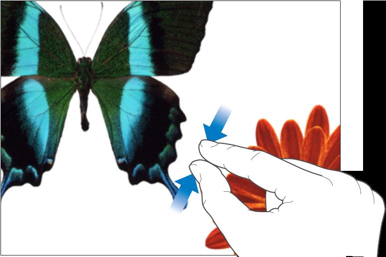 Kaksi sormea pienentää kuvia näytöllä liikkumalla yhteen.
