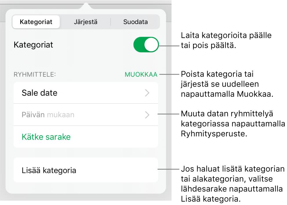 iPadin kategoriavalikko, joka sisältää valinnat kategorioiden laittamiseksi pois päältä ja poistamiseksi, datan ryhmittämiseksi uudelleen, lähdesarakkeen kätkemiseksi ja kategorioiden lisäämiseksi.