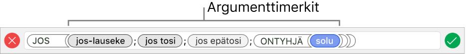 Kaavan muokkaaja, jossa näkyy funktio ja argumenttimerkkejä.
