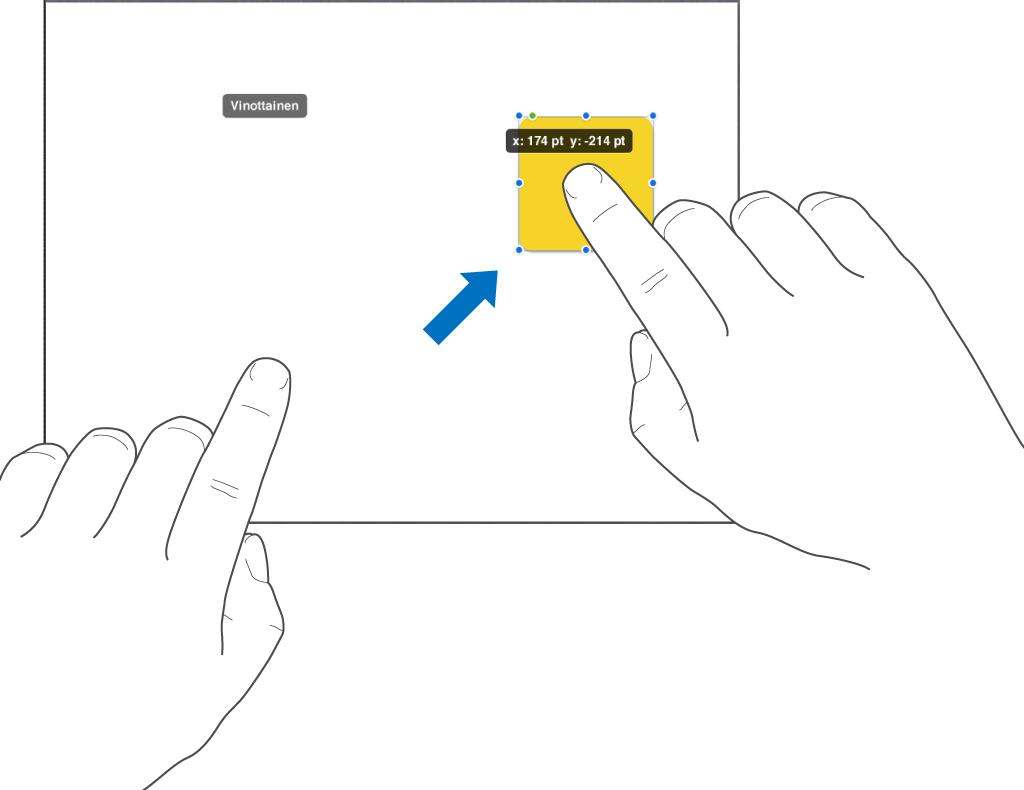 Yksi sormi objektin päällä ja toinen sormi pyyhkäisemässä näytön yläosaa kohti.