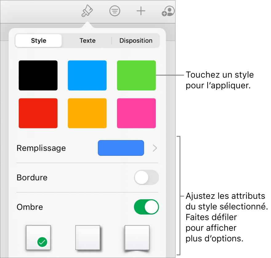 Onglet des graphiques du boutonFormat affichant les styles de graphiques en haut et le bouton des options de graphique en bas.