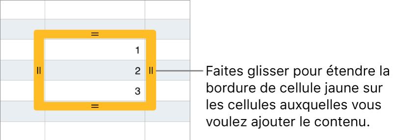 Une cellule sélectionnée avec une bordure jaune épaisse à faire glisser pour remplir automatiquement des cellules.