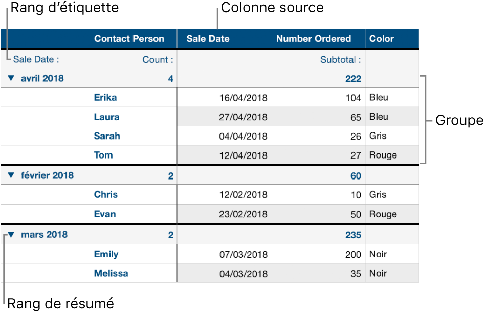 Un tableau catégorisé présentant la colonne source, des groupes, un rang de résumés et un rang d'étiquettes.