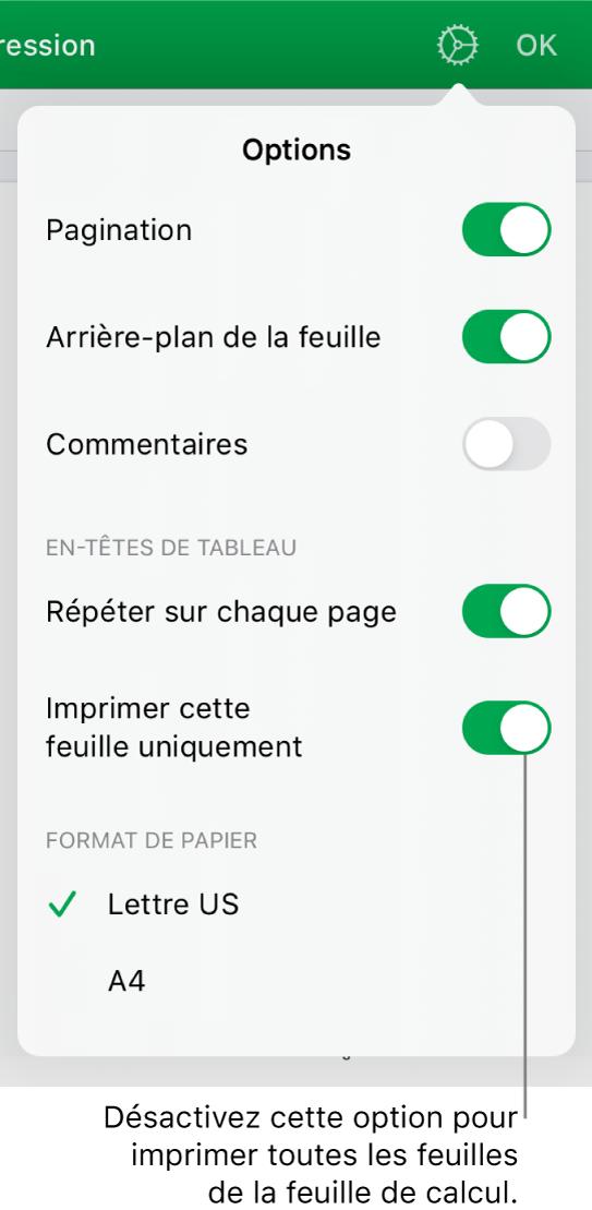 Sous-fenêtre d'aperçu avant impression, avec des commandes permettant d'afficher les numéros de page, de répéter les en-têtes sur chaque page, de modifier le format du papier et de choisir d'imprimer toute la feuille de calcul ou uniquement la feuille actuelle.
