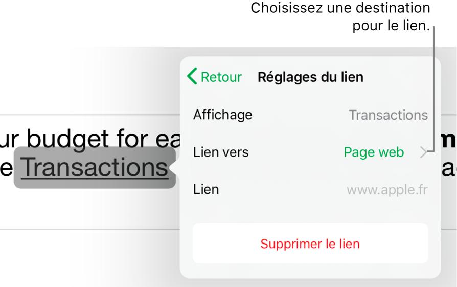 Les commandes «Réglages du lien» avec les champs Afficher, «Lier vers» (défini sur «Page web») et Lien. Le bouton «Supprimer le lien» est situé en bas.
