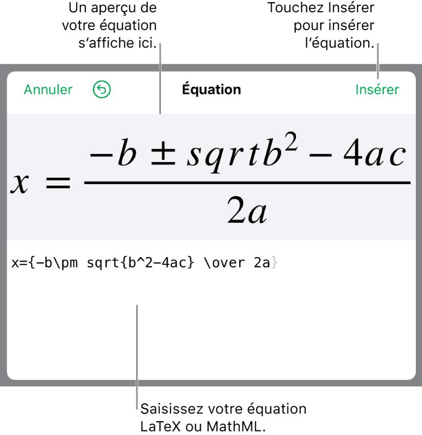 Formule quadratique composée à l'aide du langage LaTeX dans le champ Équation et aperçu de la formule en bas.