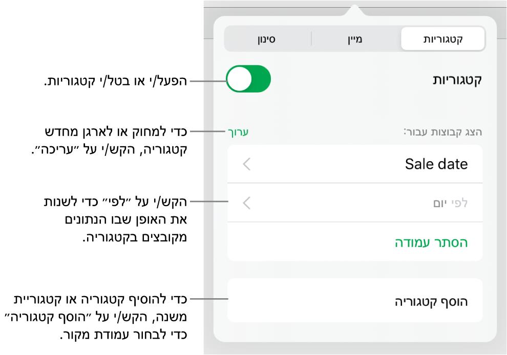 התפריט ״קטגוריות״ ב-iPad עם אפשרויות לביטול קטגוריות, מחיקת קטגוריות, סידור מחדש של נתונים בקבוצות, הסתרת עמודת מקור והוספת קטגוריות.