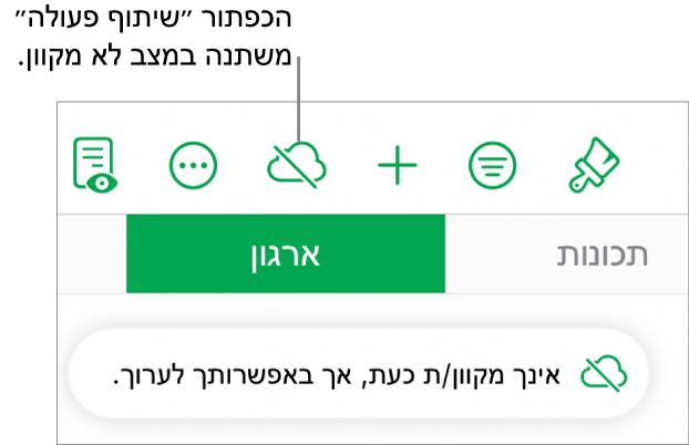 הכפתורים בראש המסך, עם הכפתור ״שיתוף פעולה״ שהתחלף לענן עם קו אלכסוני חוצה. התראה על המסך עם הכיתוב ״ניתן לערוך למרות שהמכשיר שלך לא מחובר לאינטרנט״.