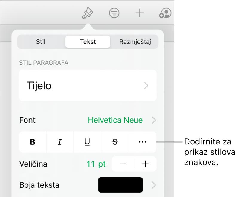Kontrole opcije Formatiraj sa stilovima paragrafa pri vrhu, zatim kontrole Fonta. Ispod su tipke opcija teksta Podebljano, Kurziv, Podcrtavanje, Precrtavanje i Više.