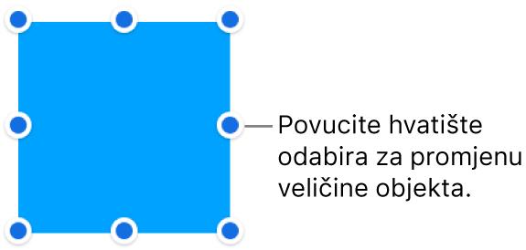Objekt s plavim točkama na rubu za primjenu veličine objekta.